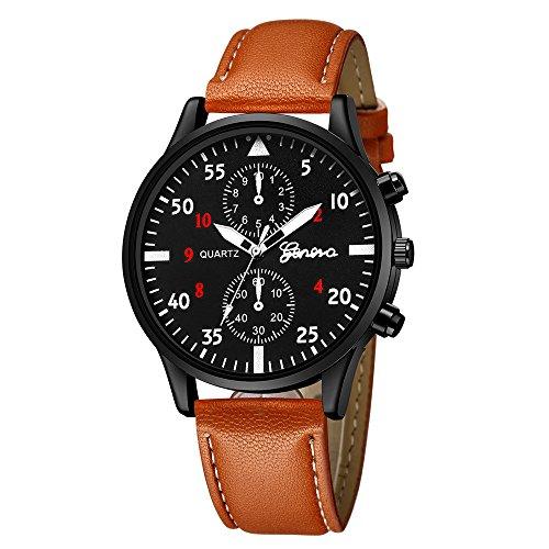 JiaMeng Relojes Pulsera Hombres, Reloj del Cuarzo de la aleación Militar de Cuero de los Hombres de la Moda Reloj(marrón C)