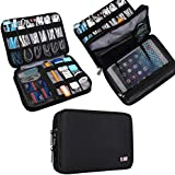 Universal Double Layer Travel Gear Organiser / Electronics Accessories Bag / Battery Charger Case, Ajuste para el iPad Mini (M, Black)