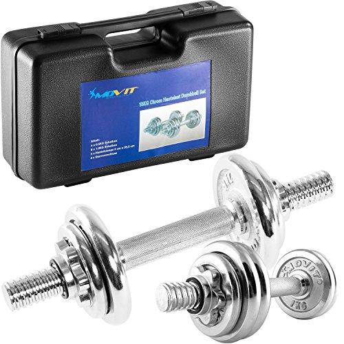 MOVIT® Kurzhantel Set, Hantelset Gusseisen Chrom 15 kg