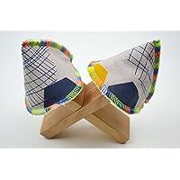 Wickelhütchen aus Bio-Baumwolle, Baby Jungen Mama, Jungen Papa, Babymassage, wickeln, Erstausstattung, Geburt, beige gelb blau