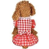 Xmiral Animale Domestico Cucciolo Carino Cane Vestiti Abiti Femmina Abito Eleganti Pet Abbigliamento Carnevale Matrimonio Cerimonia Plaid Gonna Sottile e Traspirante L Rosso