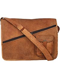 "Handcraft's ""Jake"" Vintage Handmade Premium Genuine Leather Crossed Zippered Brown Briefcase Laptop Bag Office..."