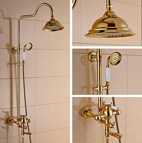 HH Duschset Europäisches Weiß Porzellan Gold Duschset Kupfer Wandhalterung Lift Drei-Gang-Multifunktions Wand-Dusche Handbrause (3 Gang Wandhalterung)