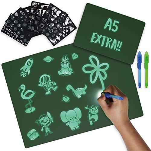 BONNYCO Tablet Magico A3 e A5, 6 Stencil e 2 Penne Spia Magic Tablet Giochi Bambina e Bambino 4 5 6 7 8 9 10 11 12 Anni | Gioco Luminoso per Bambini Compleanno e Natale | Regali per Ragazzi
