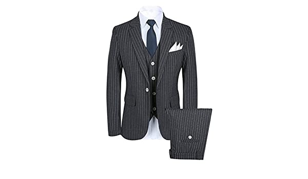 JYDress Men/'s Stripe 3 Piece Wedding Suit Formal Gray Business Wear One Button Blazer