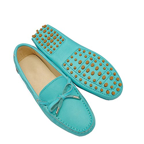 Minitoo tyb960 – 10 da donna in pelle nubuck Slip-on scarpe casual barca Ballet Flats Loafer Moccasins Turquoise