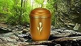 """Biologisch abbaubar Verbrennung Asche Urne–Erwachsene Größe–Antik Gold Design–""""Floral Lily"""""""