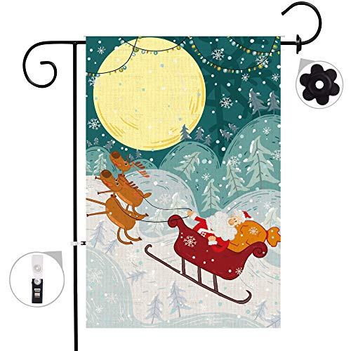 Bonsai-Baum, Weihnachtsfahnen-Set, Wetterfest und doppelt genäht, doppelseitig, Weihnachtsmann mit Schlitten und Rentier-Flaggen mit Gummistopper und Windschutzclip, 30,5 x 45,7 cm 12x18 Christmas 1 (Dies Ist Halloween-alptraum)