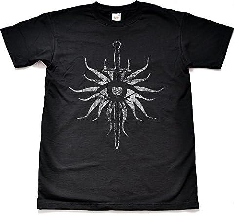 Distressed Inquisition Black T Shirt Medium