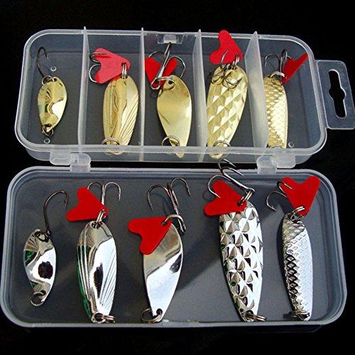 10Leurres de pêche, appâts lestés en métal dur...