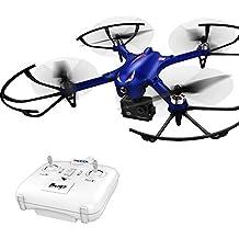 DROCON Blue Bugs 3 Drone de gran alcance para aire libre con los motores sin escobilla, Quadcopter con mayor tiempo de vuelo y compatible con cámara Action HD (AZUL)