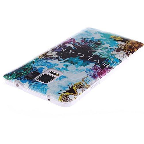 Samsung Galaxy Note 4 hülle MCHSHOP Ultra Slim Skin Gel TPU hülle weiche Silicone Silikon Schutzhülle Case für Samsung Galaxy Note 4 SM-N910S / SM-N910C - 1 Kostenlose Stylus (Campanula Tanzen mit Fed flora labyrinth mit ästhetizismus blume (Flora's Maze
