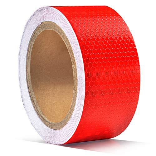 5cm x 10m Reflektierender Klebebandaufkleber, ONTWIE Reflektierender Aufkleber Rot für Anhänger Warnschutzband für hohe Sichtbarkeit Sicherheitsband für Fahrzeuge...