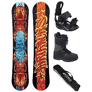 Airtracks Snowboard Komplett Set – HELL Beetle Snowboard Wide Rocker + Snowboard Bindung Star + Snowboardboots + Sb Bag / 156 159 162 cm