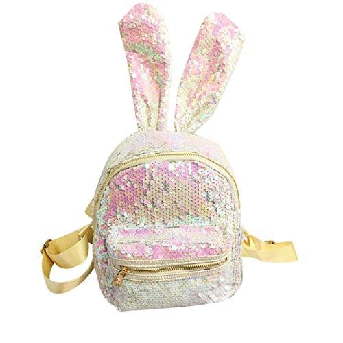 Longra Donna Moda sveglia, sacchetto di spalla dei sequins, coniglio femminile, grande orecchio, mini zaino Bianca