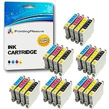 24 XL Compatibles Epson T0441-T0444 (T0445) Cartuchos de tinta para Stylus C64 C66 C68 C84 C84N C84WN C86 CX3600 CX3650 CX4600 CX6400 CX6600 - Negro/Cian/Magenta/Amarillo, Alta Capacidad