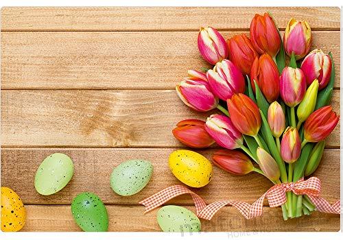 matches21 Tischsets Platzsets Motiv Frühling & Ostern Bunte Tulpen Blumen & Ostereier auf Holz 4er Set Kunststoff je 43,5x28,5 cm abwaschbar