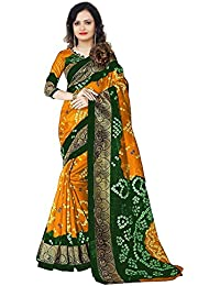 Maacreation Women's Cotton Saree (Bandhni(Y&G), Yellow & Green, Free Size)