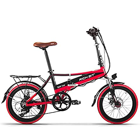 Rich Bit® RT 700 Electric Bike eBike Folding Bicycle Cycling 250W*48V 8Ah LG Battery 7Speed 7 Gears Equiped Mobile Phone Charger &Holder Double Mechanical Disc Brake 20in Wheel City Commute Bike Shimano Derailleur Long Duration New fashion Painting Red