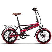Rich Bit® RT700 Vélos électriques Assistance Vélos plaints 7 Vitesses Cadre pliant Chargeur Mobile Freins à disque 20'' Roue Shimano Dérailleur Rouge