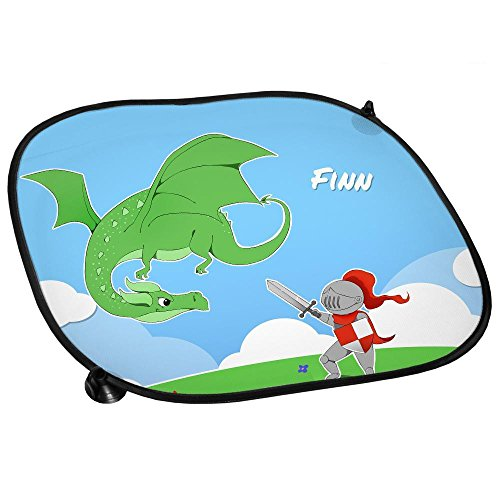 Preisvergleich Produktbild Auto-Sonnenschutz mit Namen Finn und Motiv mit Ritter und Drache für Jungen | Auto-Blendschutz | Sonnenblende | Sichtschutz