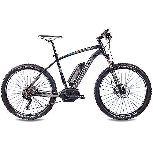 CHRISSON 27,5 Zoll Pedelec E-Bike E-Mountainbike E-Mounter 3.0 mit 10G DEORE XT Bosch PLINE CX und Powerpack500 schwarz matt 48cm