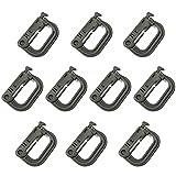 XUE Karabiner Clip Verschluss Klein Plastik D Ring Schlüsselanhänger für Rucksack and MOLLE System Zubehör 10 Stück Grün