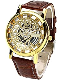 DAIZEL Round Dial Premium Quality Series Analogue Gold Dial Brown Leather Strape Fashion Wrist Watch For Men &...