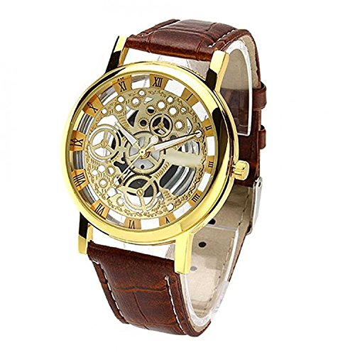 Talgo New Arrival Special Collection Transparent Analog Gold Dial Brown Strap Men\'s & Boy\'s Watch | Fashion Wrist Watch | Party -Wedding Watch | Special for Teenager Boy\'s Watch | Men Watch