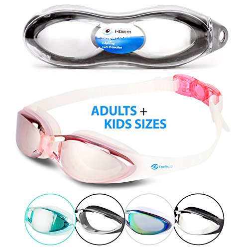 i-Swim Pro Swimming Goggles - Anti Fog Technology - Crystal Clear Vision - Watertight - Comfortable - 100% Moneyback Guarantee - Mirrored With UV Protection - Swim Goggle For Men And Women Best For Adults Kids Boys And Girls - Includes *FREE* Premium Protective Case *FREE* Nose Clip And *FREE* Ear Plugs (3 Pink) (Nase Kinder Für Mit Schwimmen-schutzbrillen)