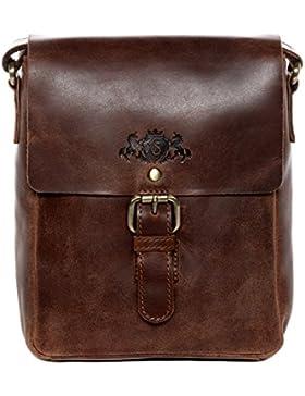 SID & VAIN® Umhängetasche YALE - Damen Handtasche mit Schultergurt klein Ledertasche - Schultertasche im Vintage-Look...