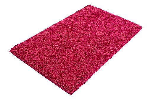 PANA Mikrofaser Chenille Bad-Teppich I Badematte I Badvorleger I 60 cm x 100 cm I Rutschfester Rückseite I Farbe Fuchsia
