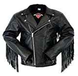 Quality Cowhide Leather Classic Brando Motorcycle Biker Jacket With Tassles