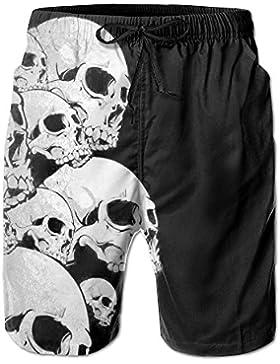 LPOVTR Beach Men Quick Dry Boardshorts Black Skull Swim Trunk Board Shorts with Pockets