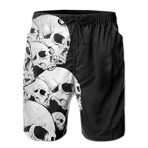 Black Skull Jeans (LPOVTR Beach Men Quick Dry Boardshorts Black Skull Swim Trunk Board Shorts with Pockets)