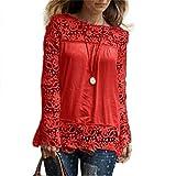 ESAILQ Damen Kurzarm Bluse Schulterfrei Batwing Weit Rundhals Carmen Oberteil Tops T-Shirt Sommerbluse(XL,Rot)