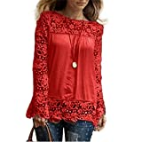 ESAILQ Damen Basic Longshirt Oberteil T-Shirt Top(M,Rot)