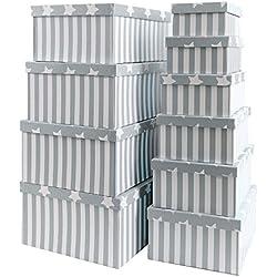 Caja de cartón para regalos o para almacenamiento, de cartón, con tapa, cartón estable con estrellas y rayas, juego 10 unidades, tamaño decreciente, papel, gris, 37,5cm x 29cm x 16cm - 19cm x 13cm x 7,5cm