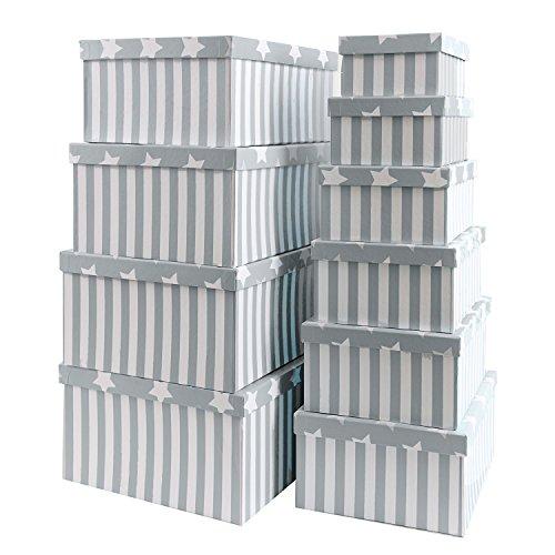 Brandsseller Geschenkbox Aufbewahrungsbox Kartenkarton mit Deckel - Stabiler Karton mit Sternen und Streifen - 10er Set in absteigender Größe - Farbe: Grau