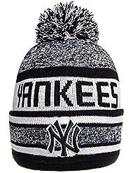 New Era NY Yankees Bonnet A Pompon Sport Rayé (Blanc Gris Noir) - Taille unique