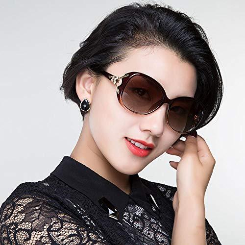 Damen Sonnenbrille Koreanische Version der Flut Brille rundes Gesicht langes Gesicht polarisierte Sonnenbrille weiblichen polarisierten schwarzen Rahmen progressiven grauen Film, Tee Rahmen Tee-Table