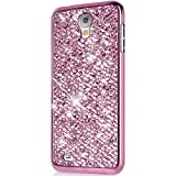 Galaxy S4 Mini Silikon Hülle,Galaxy S4 Mini Hülle Glitzer,Galaxy S4 Mini Handyhülle Rosa Luxus Plating Sparkle Bling Glitzer Strass Diamant Tasche Handyhülle Ultra Dünn Gel Case Weiche TPU Bumper