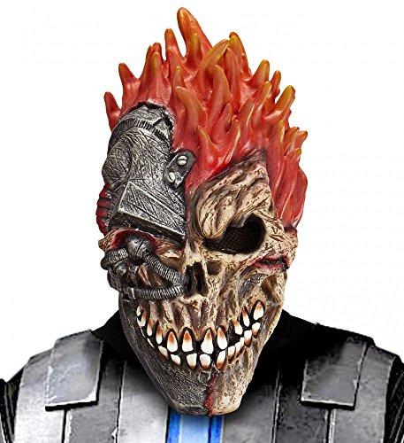 shoperama Cyborg Totenkopf Horror Latex-Maske Halloween Skull Cyber Zombie Roboter - Cyborg Kostüm Zubehör