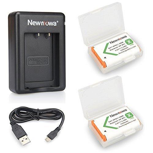 Newmowa NP-BX1 Batería de repuesto (2-Pack) y Kit de Cargador Doble para Micro USB portátil para Sony NP-BX1, NP-BX1/M8,Sony Cyber-shot DSC-HX50V, DSC-HX300, DSC-HX400,DSC-RX1, DSC-RX1R, DSC-RX100, DSC-RX100 II, DSC-RX100M II, DSC-WX300, HDR-AS10, HDR-AS15, HDR-AS30V,HDR-AS50R, HDR-AS100V, HDR-AS100VR, HDR-AS300R,HDR-CX240, HDR-MV1, HDR-PJ275,FDR-X3000, FDR-X3000R
