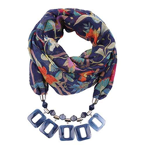 hentücher Schals Halskette mit Perlen Kette Anhänger Schals & Tücher Praktischer Schal Farbverlauf Schmuckschal Schalkette Mode und Leinen mit Lätzchen 180x48cm ()