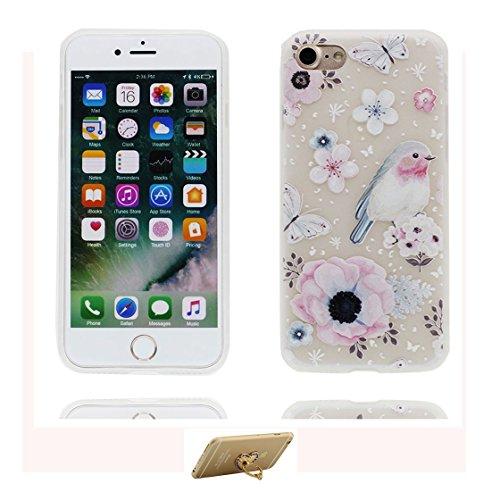 Custodia iPhone 6 Plus, ( porpora Flower ) Silicone trasparente iPhone 6S Case iPhone 6s Plus copertura Cover 5.5 e ring supporto Shell Graffi Resistenti Color - 7