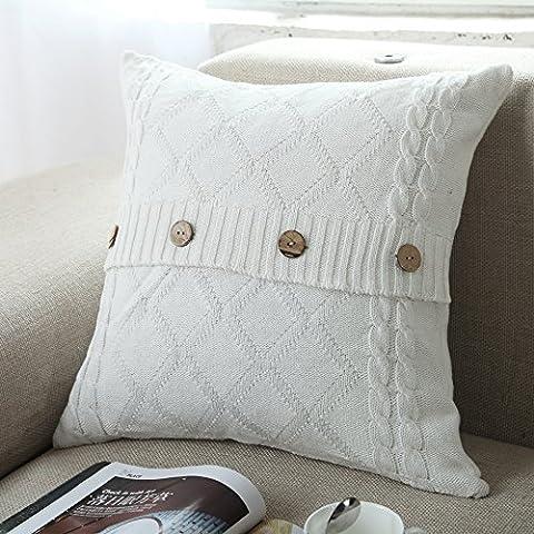U 'artlines Coton tricoté décoratif Taie d'oreiller Housse de coussin câble à tricoter Patterns carré chaud Taie d'oreiller
