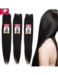 My-Lady® Tissage bresilien Naturel RAIDE Cheveux humains Vierges - Grade 7A - Extensions Capillaires de Haute qualité - Unprocessed Brazilian Virgin Remy Hair - #1B Noir Naturel (1 Pcs: 25cm, 100g)