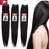 My-Lady® Tissage bresilien Naturel Raide/Droit Cheveux humains Vierges - Grade 7A - Extensions Capillaires de Haute qualité - Unprocessed Brazilian Remy Virgin Hair - #1B Noir Naturel (1 Pcs: 25cm, 100g)