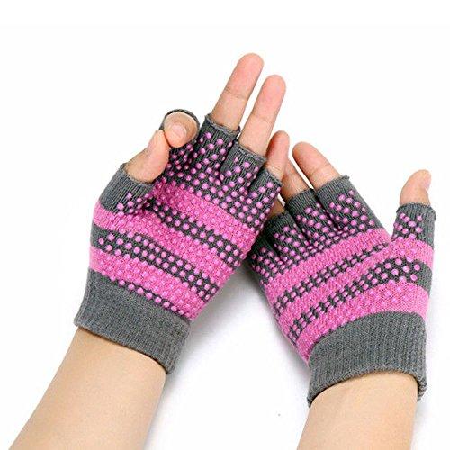 KingNew Soft Yoga Gloves,Non-Slip Fingerless For Gym Body Building Training Sports (Pink)
